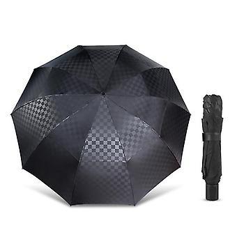 Double Layer Dark Grid Big Umbrella