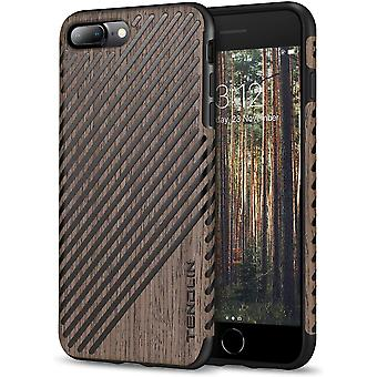 FengChun für iPhone 7 Plus Hülle/iPhone 8 Plus Hülle Holz und Leder Flexiblem TPU Silikon Hybrid