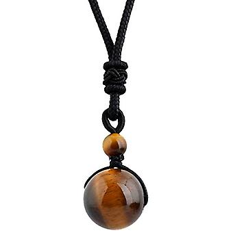 KYEYGWO - Necklace with pendant in the shape of a natural stone ball, adjustable, for men and women, color: Ref eye stone. 0715444083273