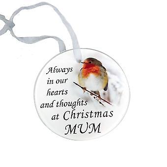 David Fischhoff Robin Glass Memorial Hanging Ornament 9cm - Mum