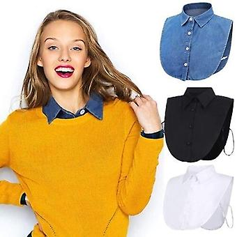Ladies Fake False Lapel Half Shirt Style Blouse Detachable Removable Collar