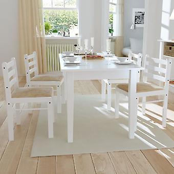 Sillas de comedor 4 St Solid Rubberwood y Velvet White