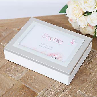 """Sophia Jewellery Box z ramką na zdjęcia 6 """" x 4"""" Pokrywa - Biały"""