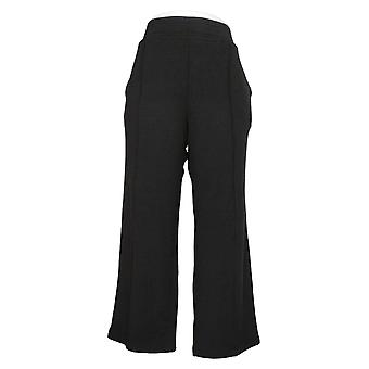Noen Kvinners Petite Bukser Plysj Terry Wide Leg Svart A345171