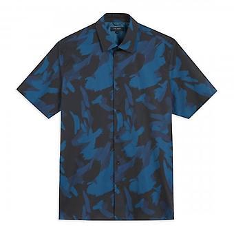 Ted Baker Playo Camo Print Navy Shirt met korte mouwen