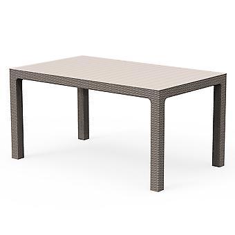 Rattan Effetto 6 posti Tavolo da pranzo esterno resistente alle intemperie Giardino Patio Mobili
