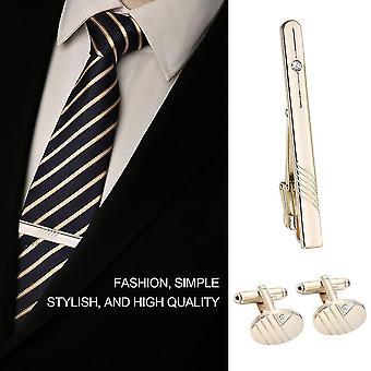 Gentleman rozsdamentes acél vágóvonal gyémánt nyakkendő és mandzsettagomb készlet