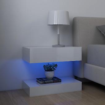 vidaXL nattbord 2 stk. høyglanset hvit 60x35 cm sponplate