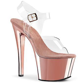 Pleaser Damen's Schuhe SKY-308 Clr/Rose Gold Chrom