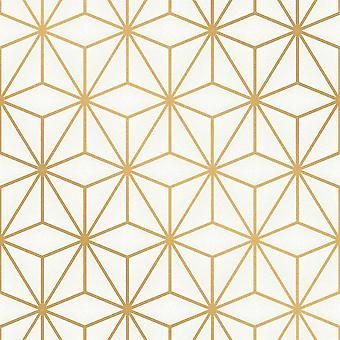 Fin dekor Pulse Star geometrisk guld tapet FD42342