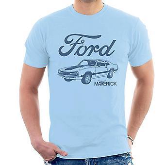 Ford Maverick Blue Outline Miesten t-paita
