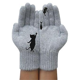 (Kleur:Grijs) Vrouwen Winter Warme Volle Vinger Handschoenen Schattige Kat Dier Gebreide Handschoenen Warme Wanten