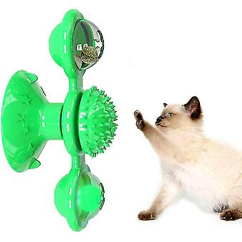 Windmill Cat Toy With Led Ball Turntable Teasing Interactive Doll(Green)