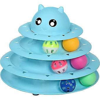 Cat Toy Roller Cat Toys 3 Level Towers Tracks With Six Colorful Ball(Blue)