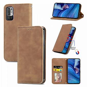 Case For Xiaomi Redmi Note 10 5g Magnetic Closure Leather Wallet Cover Housse Etui Shockproof - Marron