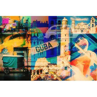 Tapetmaleri Fargerik collage av Havanas mest berømte landemerker