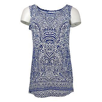 Susan Graver Top Liquid Knit Cardigan &Tunic Set Blue A263004 de las mujeres