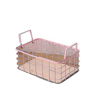 Household Stackable Metal Wire Storage Organizer Bin Basket With Handles(Pink)