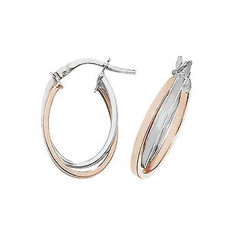 HS Johnson HSJ-ER1011R Women's 9ct Rose/White Gold Oval Hoop Earrings