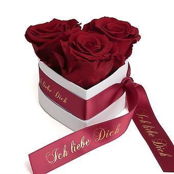 Jag älskar dig Gift Blommor 3 Eternal Roses Mörkröd