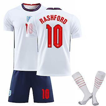 RASHFORD #10 Herrar 2020/2021 Säsong England Landslag HemmaFotboll T-Shirts Jersey Set för Barn Ungdomar