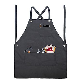 Mimigo Gewachste Leinwandschürze - Kochschürze mit Taschen Küchenkochschürzen Lustig für Bbq Grill Wasserdicht -schwarze Schürze für Männer und Frauen - Mit Tasche