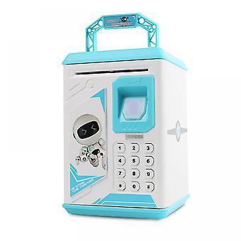 Musik Cartoon Kinder Sparschwein, Kann automatisch Bargeld / Münze Sparschwein schlucken, Spielzeug safe, Fingerabdrucksensor Passwort Boxblue