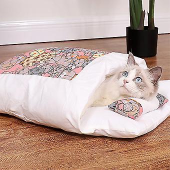 Kivehető és mosható téli meleg hálózsák macskáknak és kutyáknak (rózsaszín S)
