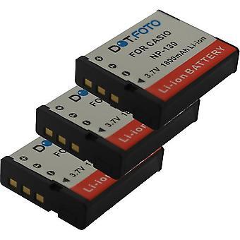 3 x Dot.Foto Casio NP-130, NP-130A erstatningsbatteriet - 3,7 v / 1800mAh
