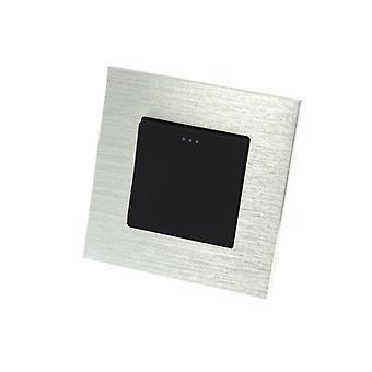 I LumoS Luxury Silver Brushed Aluminium Frame 1 Gang 1 Way Rocker Wall Light Switches