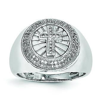 925 Sterling Silver Polished Rhodium plated Rhodium Plated Diamond Cross Mens Ring  Jewelry Gifts for Men - Ring Size: 9