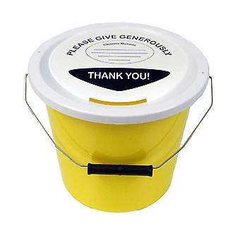 6 Charity Money Collection Buckets 5 Litres - Yellow