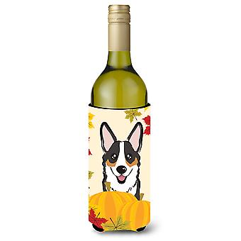 Tricolor Corgi Thanksgiving Wine Bottle beverage Insulator Hugger