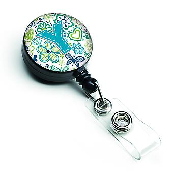 Letter Y Flowers and Butterflies Teal Blue Retractable Badge Reel