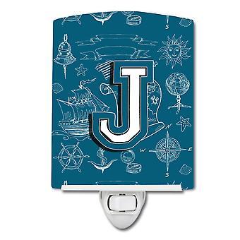 Letter J Sea Doodles Initial Alphabet Ceramic Night Light