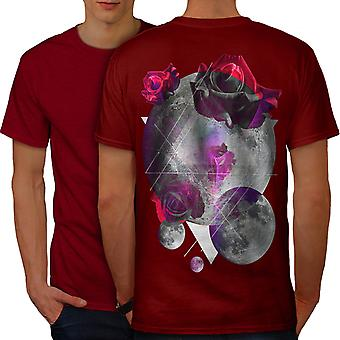 Moon Space Rose Fashion Men RedT-shirt Back | Wellcoda