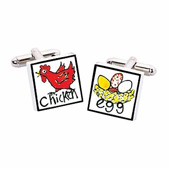 Chicken & Egg Cufflinks by Sonia Spencer, in Presentation Gift Box. Hand painted