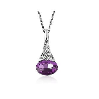 Womens Dark Purple Flower Pendant Necklace With Crystal Stones