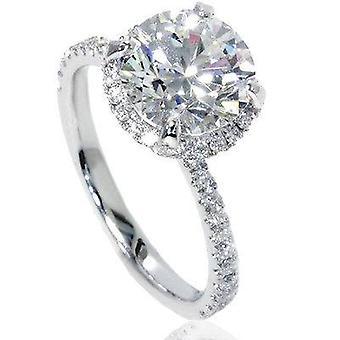 2 1 / 2ct Halo Diamond Engagement Ring 14K White Gold