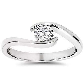 1 / 3ct rond diamant Solitaire bague de fiançailles moderne 14K or blanc