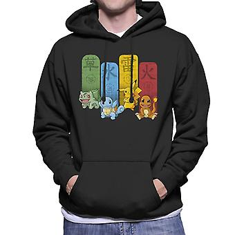 Pokemon Elemental Kanji Monsters mannen Hooded Sweatshirt