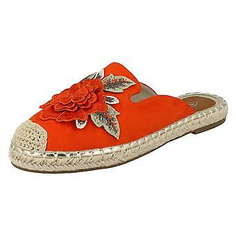 Dames plek op bloem versiering Espadrille muildieren F2262 - oranje microvezel - UK maat 3 - EU Size 36 - US maat 5