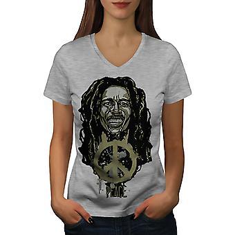 Peace Rasta Bob Marley Women GreyV-Neck T-shirt | Wellcoda