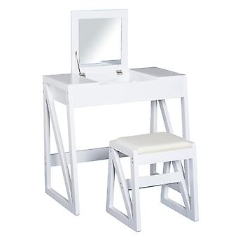 HOMCOM MDF, Pine Dressing Table Set Cushioned Stool Writing Desk Flip-up Mirror Makeup Modern - White