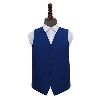 Royal Blue Solid Check Wedding Waistcoat