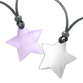 Super Star Amulette liebe paar oder beste Freunde Set lila und Weiße Katzen Auge Kristall Halsketten