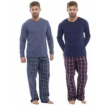 Mens Plaid Print Check Pants - Jersey Top Pyjama (Pack of 2)