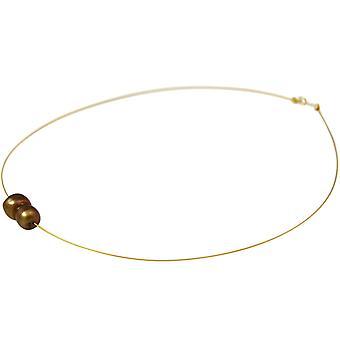 GEMSHINE Halskette Barock Perle Tahiti Champagne in 925 Silber oder vergoldet