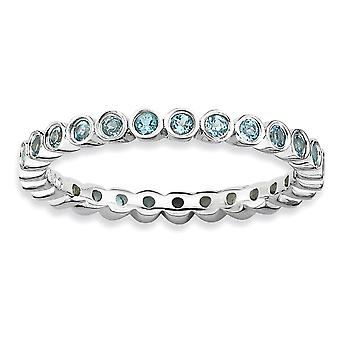 925 Sterling Silver Bezel Polished Patterned Rhodium plated Stackable Expressions Blue Topaz Ring Jewelry Gifts for Wome