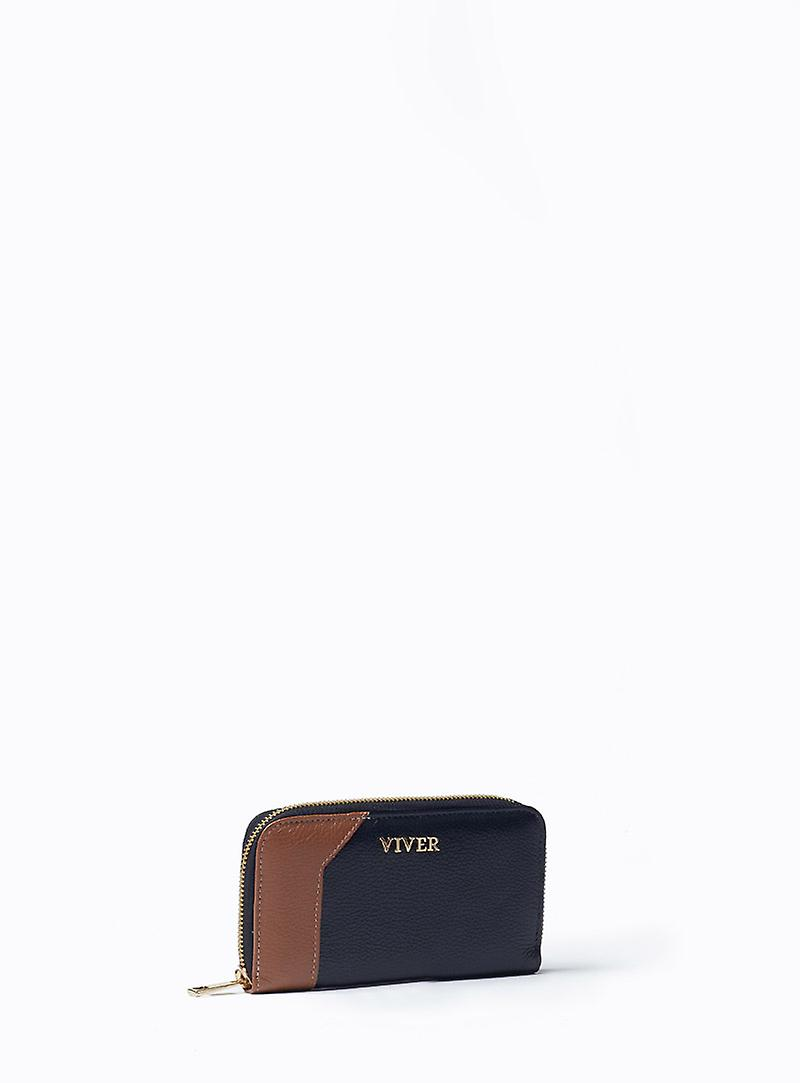 VIVER Zip Around Leather Purse